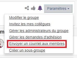 option modifier le groupe sous le menu paramètres