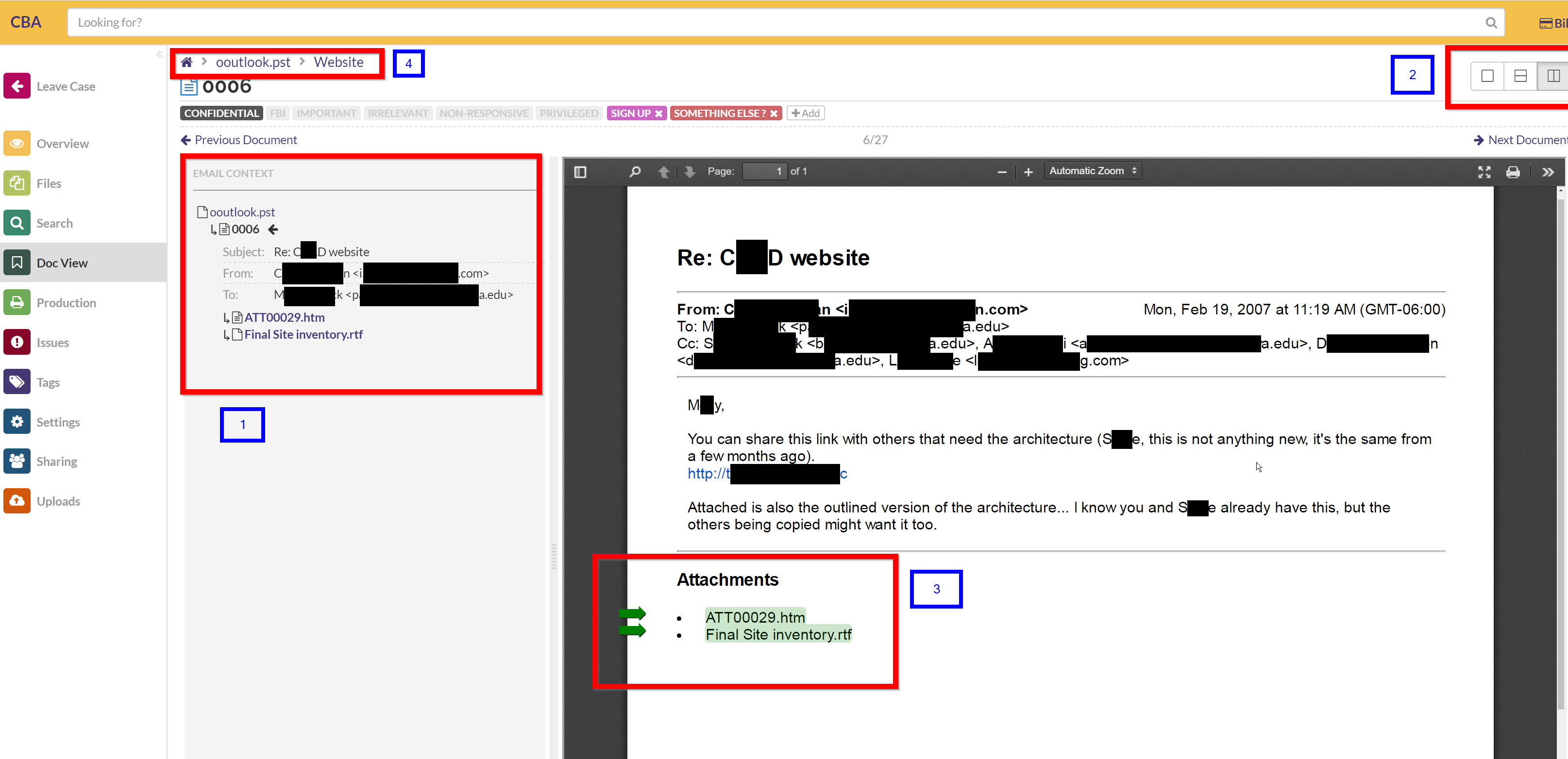 Where to find email context