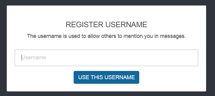 Choose a username to register for GCcollab Message.