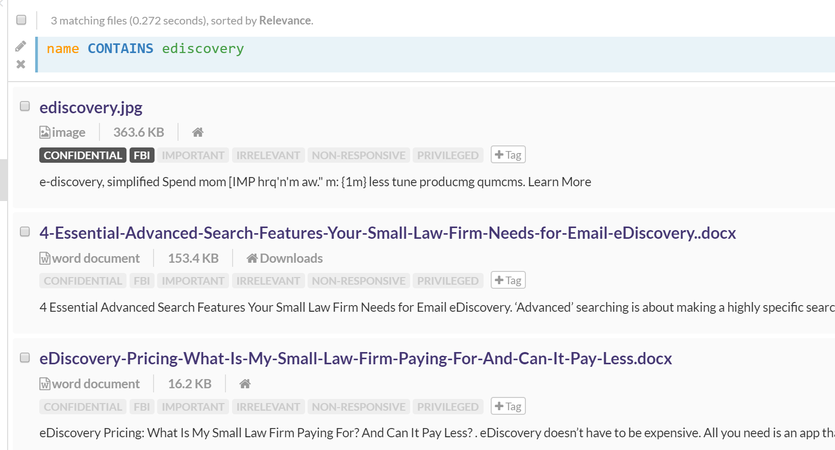 results for a name search of 'ediscovery'