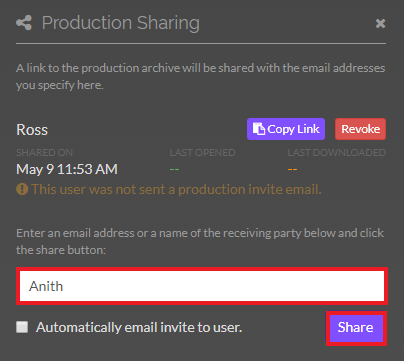 Production sharing interface. Enter the name of the person you wish to share the production with