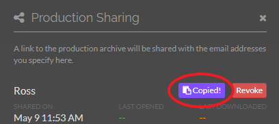 You will see 'Copied!' flash to confirm you have copied the link to your clipboard