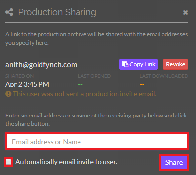 Production sharing interface. Enter the email address you wish to share the production with