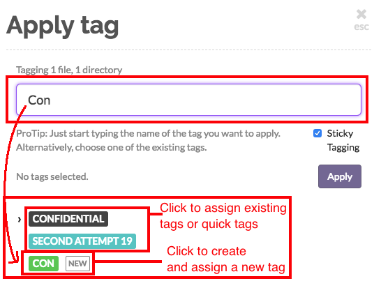 Assign a tag or create a new tag
