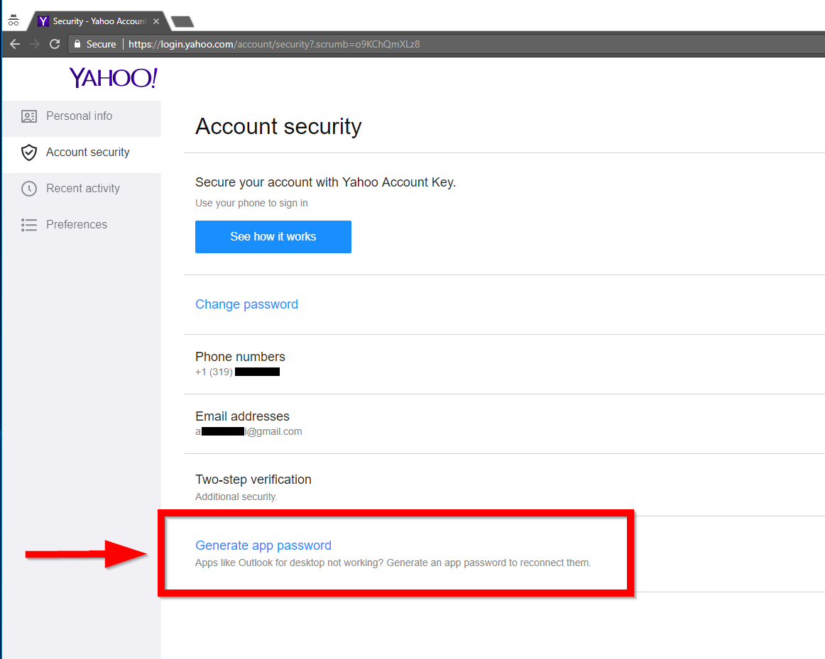 Yahoo account security options