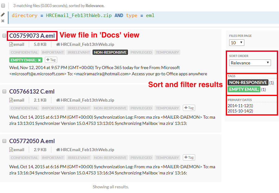 open up the doc view from the search results