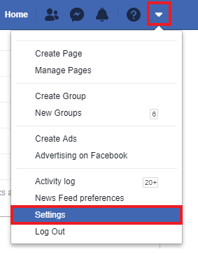 Navigate to Facebook's 'Settings' screen