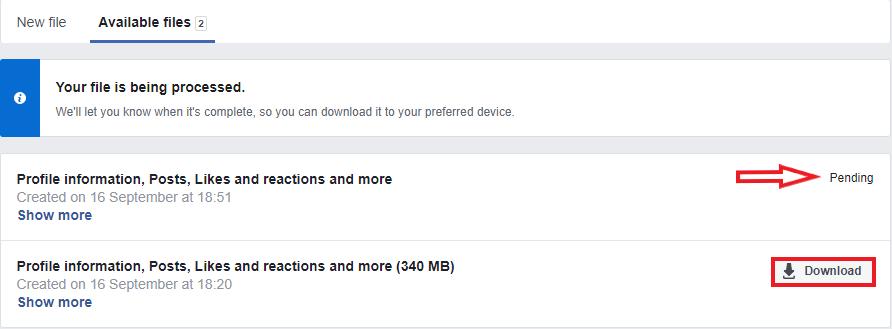 Download your export