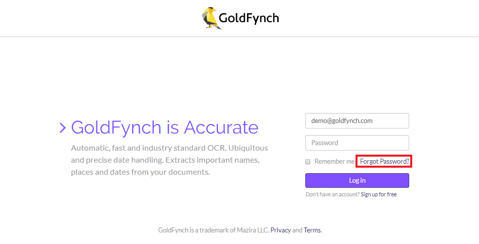Click on the 'Forgot Password?' button on the GoldFynch login page