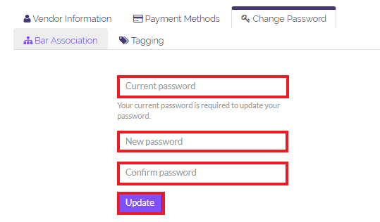 Enter your old password, then the new password you want to use, and confirm it