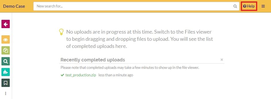 Use the help button to notify the GoldFynch team that the upload has completed