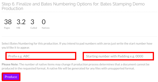 Enter a prefix and starting padding if needed, then click on the Produce button