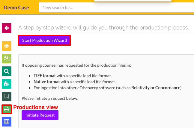 Click on the Start Production Wizard button in the Productions view