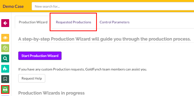 Open the requested productions tab