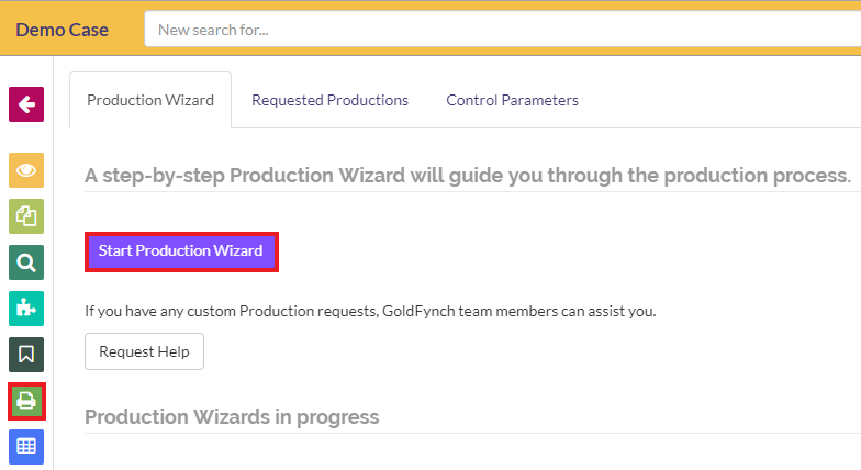 Click on Start Production Wizard