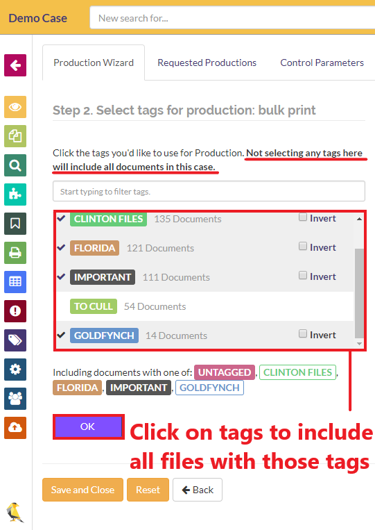 Click on tags to include all files with those tags