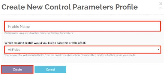 Enter a profile name and choose a template profile