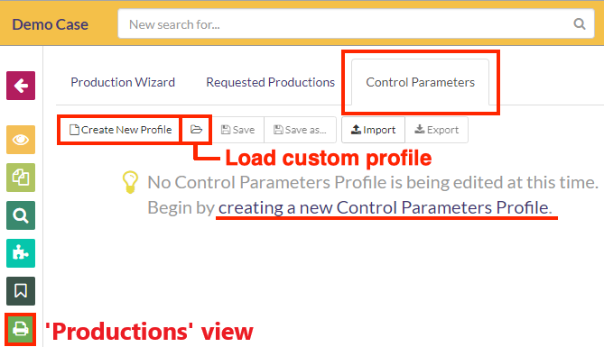 Navigate to the Control Parameters tab