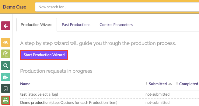 Production view and click on the start production wizard button