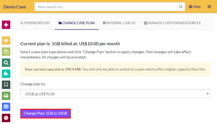 After selecting your plan, click on the 'Change Plan' button