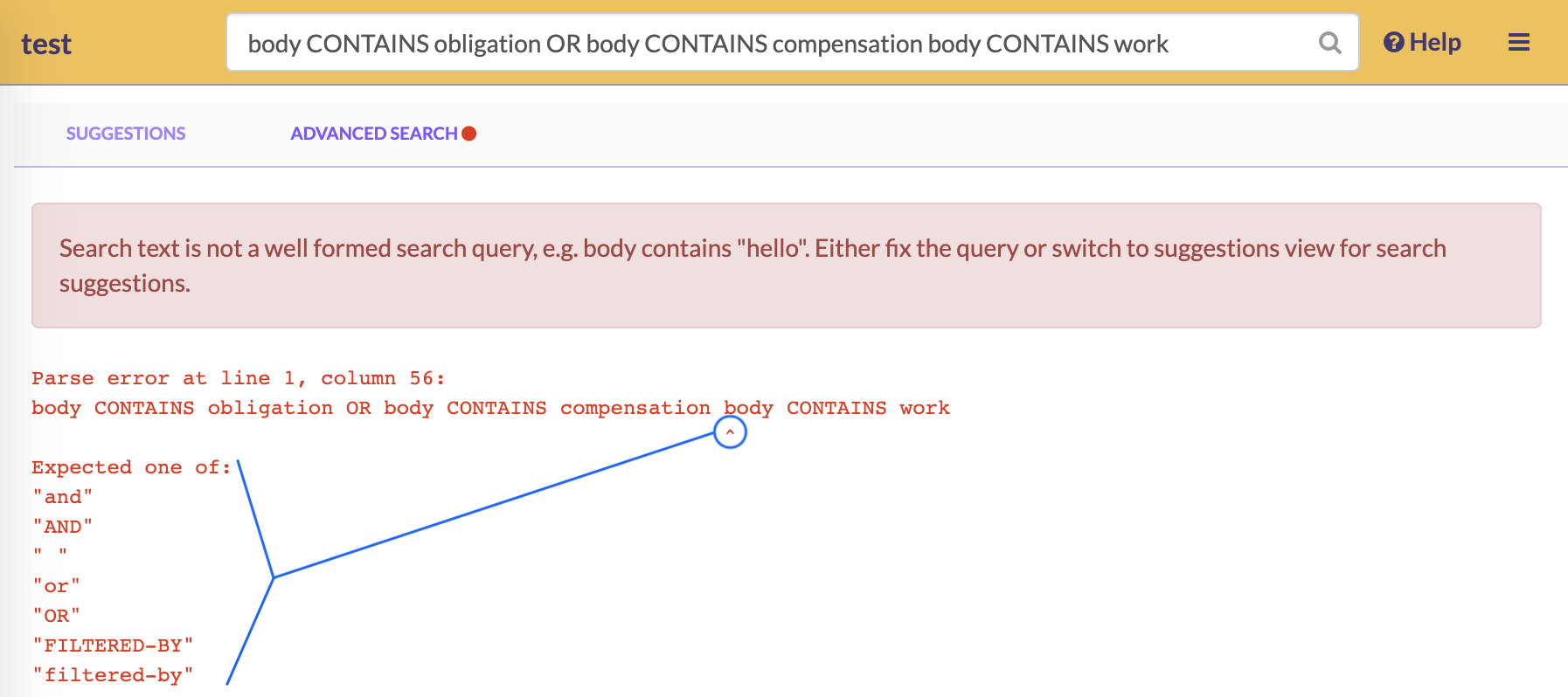 If there is an error in your query's syntax, GoldFynch will point it out