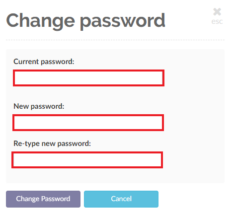 Enter your current password and then enter your new password and re-enter it to validate it, then click on the Change Password button