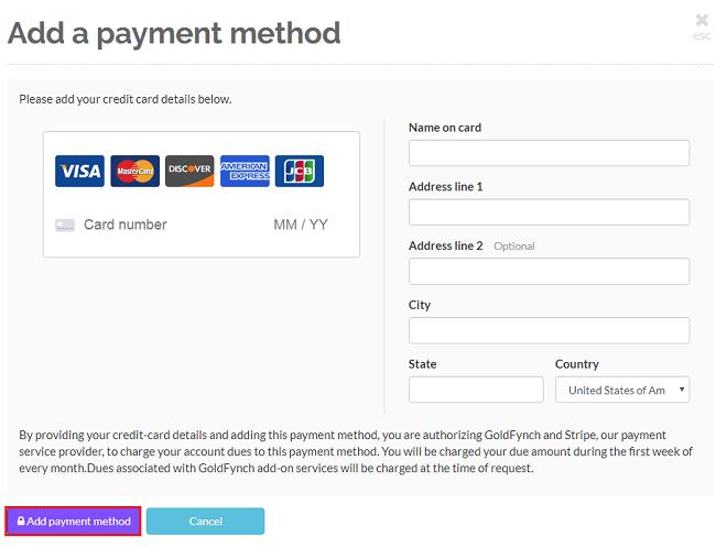 Enter your credit card details