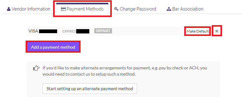 Add or remove a payment method, or set one as default