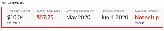 View your billing summary on the Billing screen