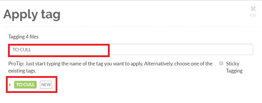 Create a new tag (e.g. 'To cull') and assign it by clicking on it on the side of the screen