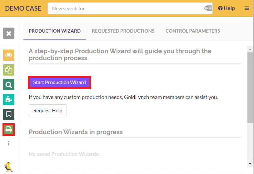 Navigate to the 'Productions' view and click on the 'Start Production Wizard' button.
