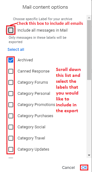 Select labels to export