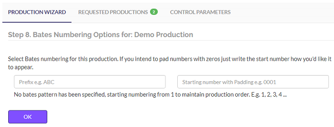 Choose a bates numbering option for your production