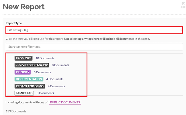 Select the File Listing - Tags option to create a report