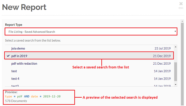 Select the File Listing - Saved Search option to create a report