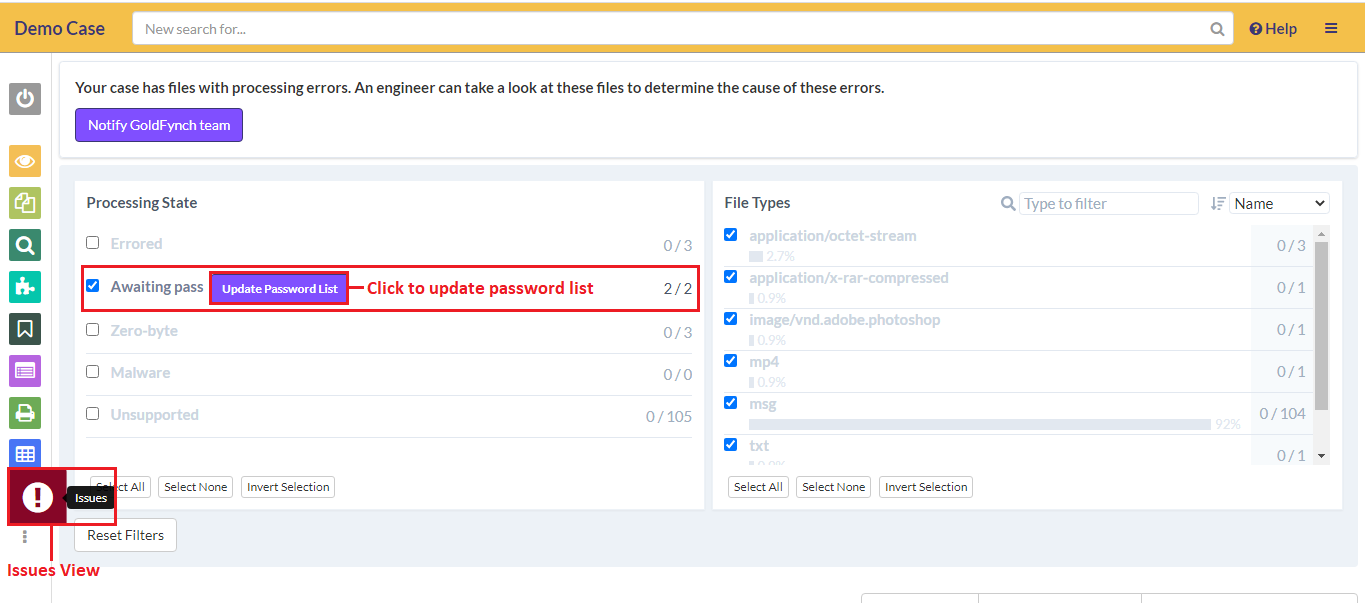 Click on update password list to enter the password for the file
