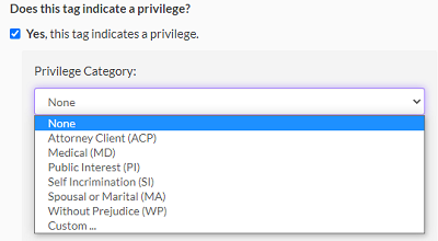 Select a privilege category from the drop-down