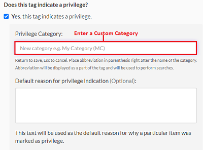 Enter a custom category for the privilege tag