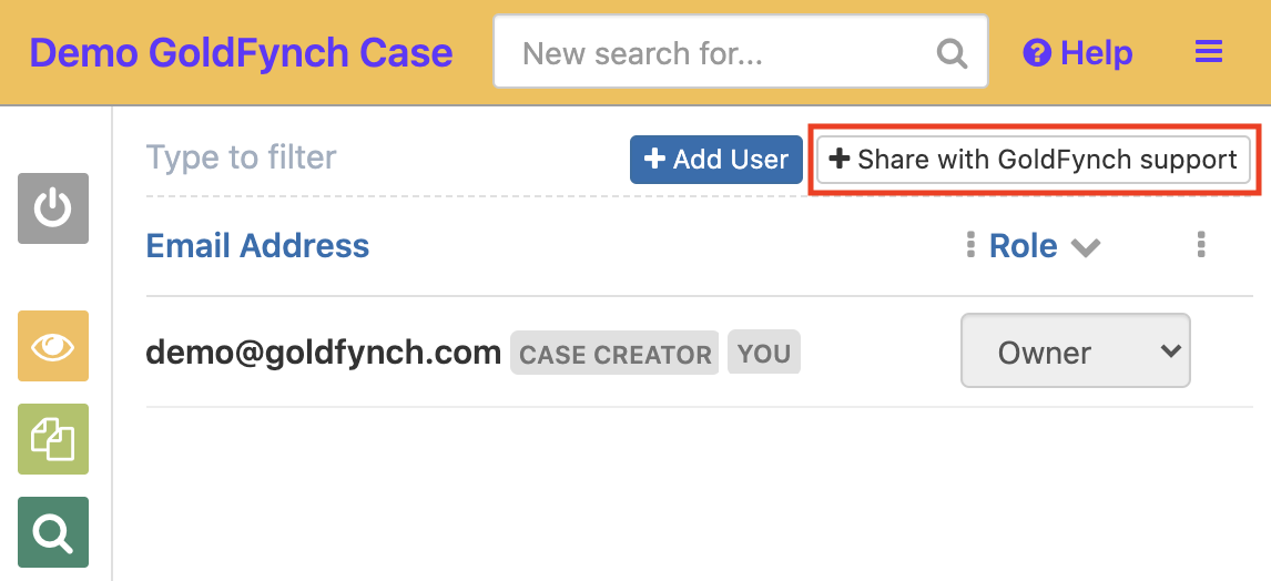 Click on the + Share with GoldFynch support button