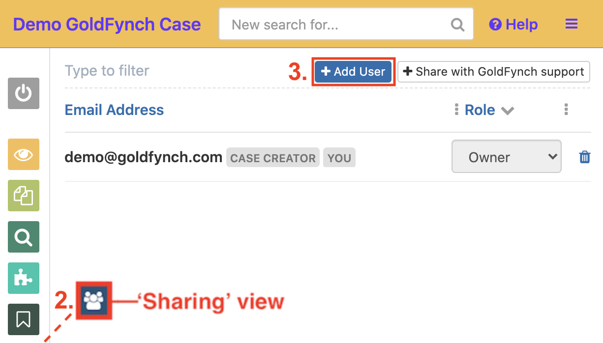 Navigate to the sharing view and click on the +Add User button