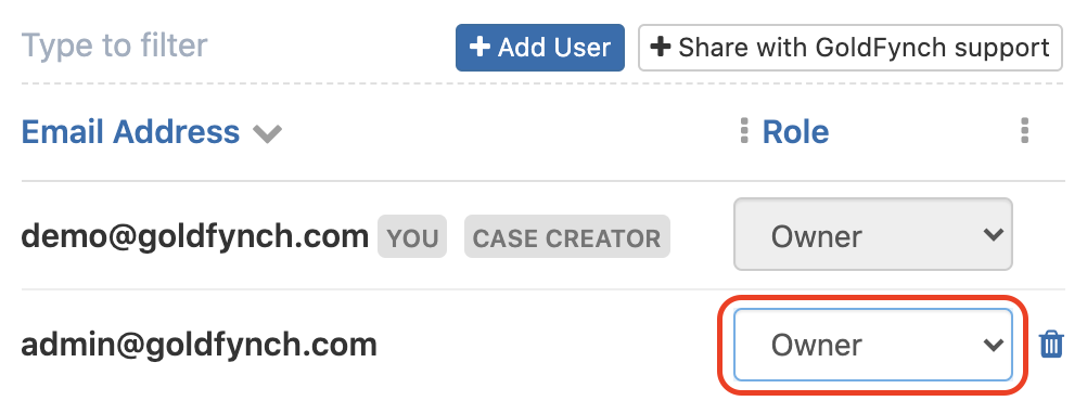 Set the user role of the new account to Owner
