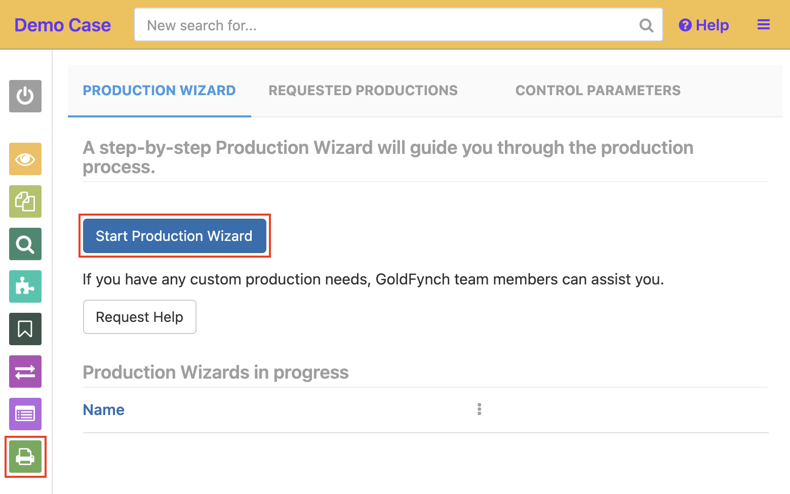 Navigate to the productions view and click on the Start Production Wizard button