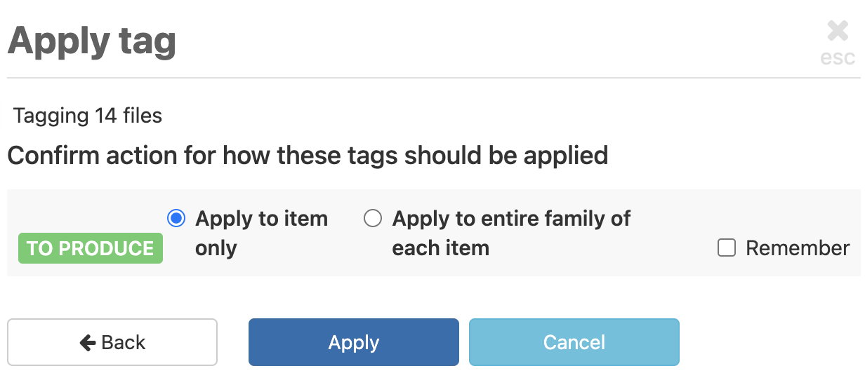 Choose whether to tag other files in the file families of the selected files