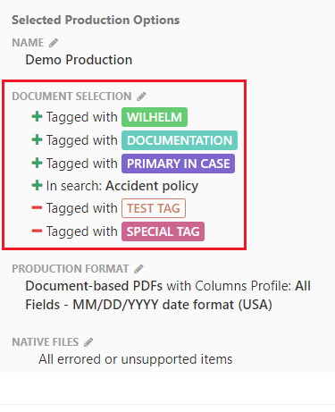 Selected documents in the production options box