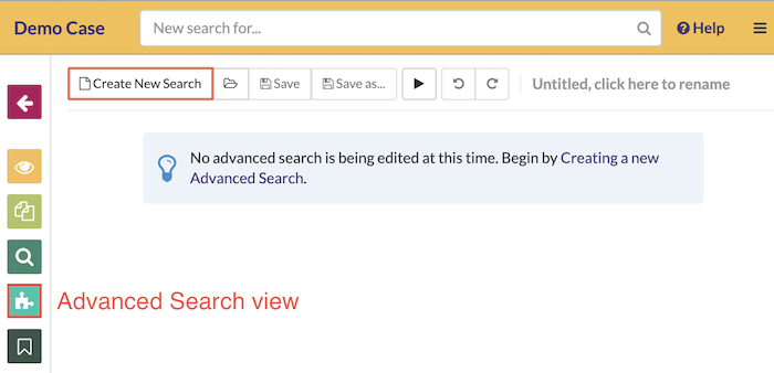 Navigate to the advanced search view and create a search query