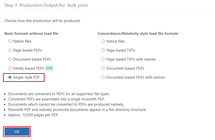 Select the Single, bulk PDF option