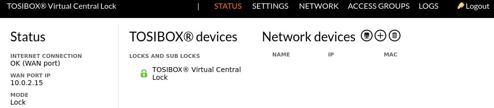 Tosibox VCL Status page