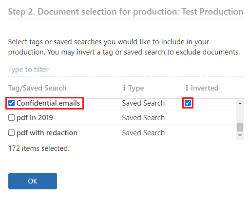 Select the Saved search that you want to invert and click on the invert checkbox