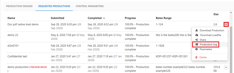 Click on the production load option to open to the production log