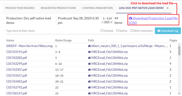 Click link to load the production load file